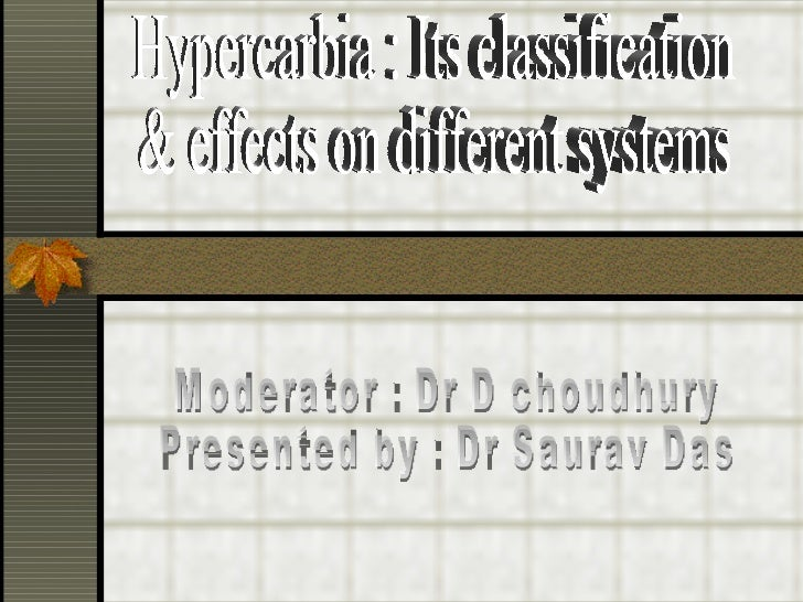 Hypercarbia : Its classification  & effects on different systems Moderator : Dr D choudhury Presented by : Dr Saurav Das