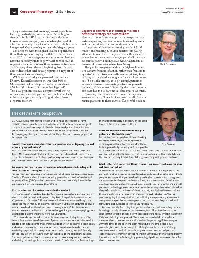62 www.IAM-media.com  Autumn 2019 Stripe has a small but seemingly valuable portfolio, focusing on digital payment servi...