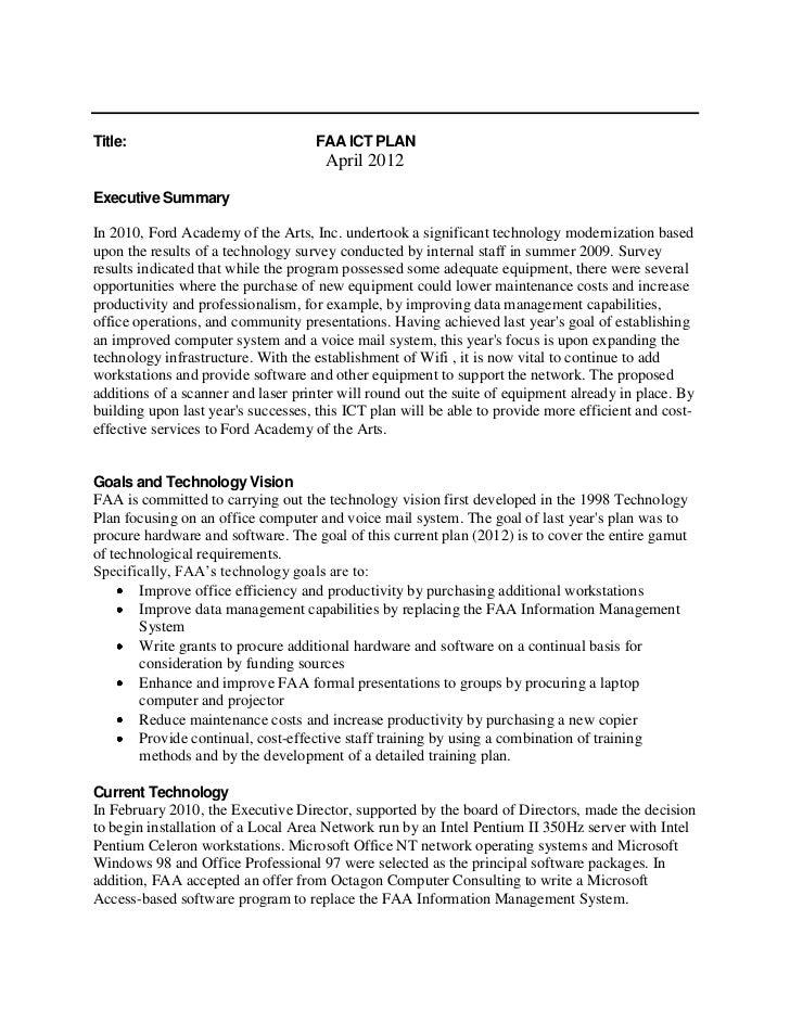 Title:                              FAA ICT PLAN                                      April 2012Executive SummaryIn 2010, ...