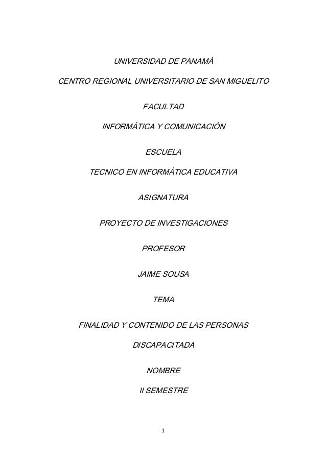 UNIVERSIDAD DE PANAMÁCENTRO REGIONAL UNIVERSITARIO DE SAN MIGUELITO                  FACULTAD         INFORMÁTICA Y COMUNI...
