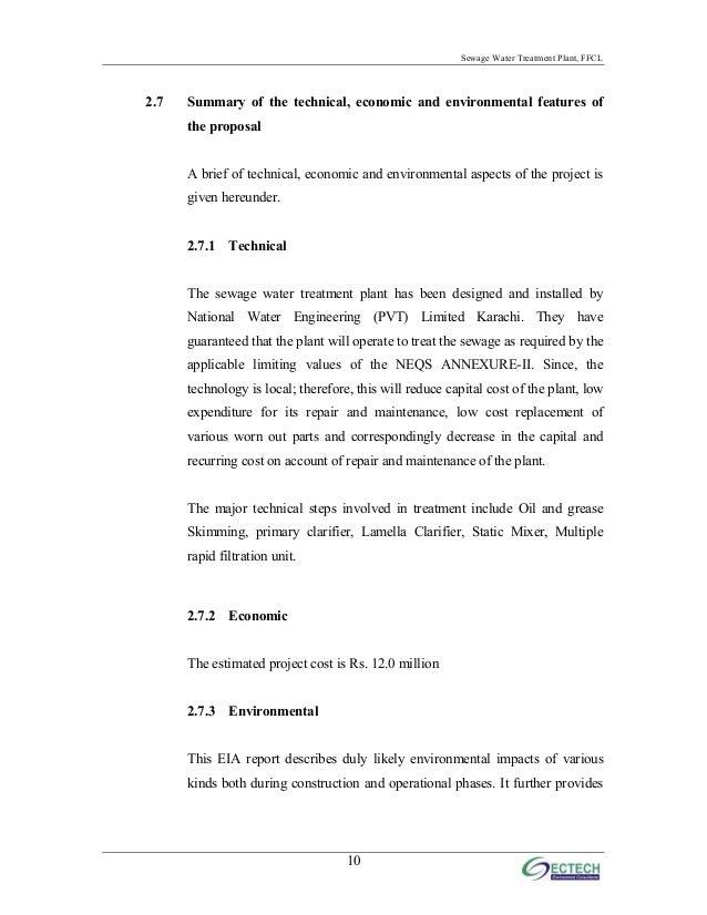 EIA - SEWAGE WATER TREATMENT PLANT FFC MIRPUR MATHELO