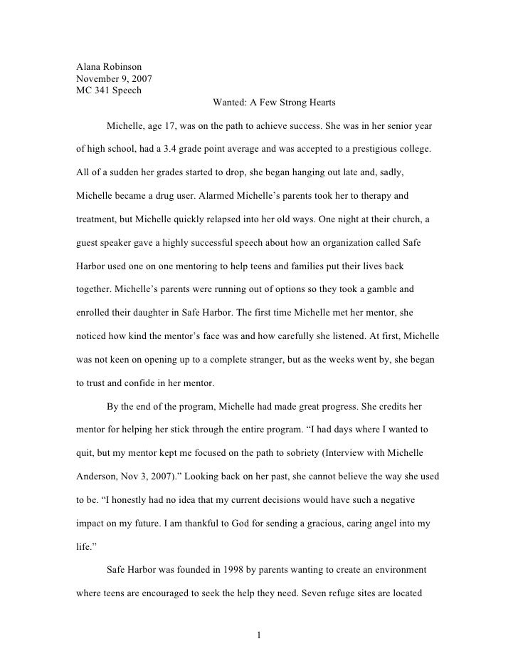 Alana Robinson November 9, 2007 MC 341 Speech                                    Wanted: A Few Strong Hearts           Mic...