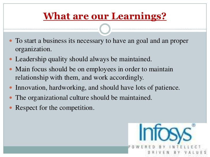 organisational behavior at infosys I foreword the present work has been partially revised and updated textbook organizational behavior course, which is taught at the faculty of administration of ljubljana, and is intended primarily to foreign.