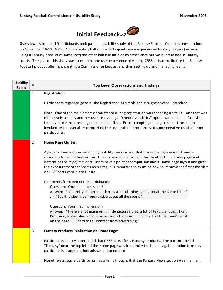 Fantasy Football Commissioner – Usability Study                                                     November 2008         ...