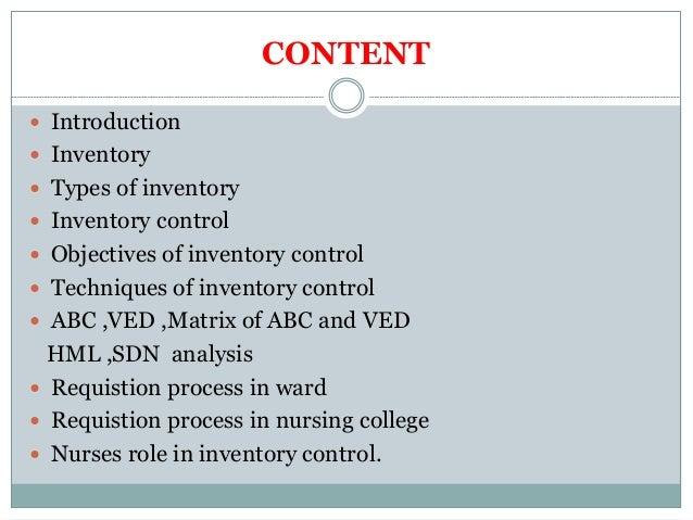 Inventory control in nursing