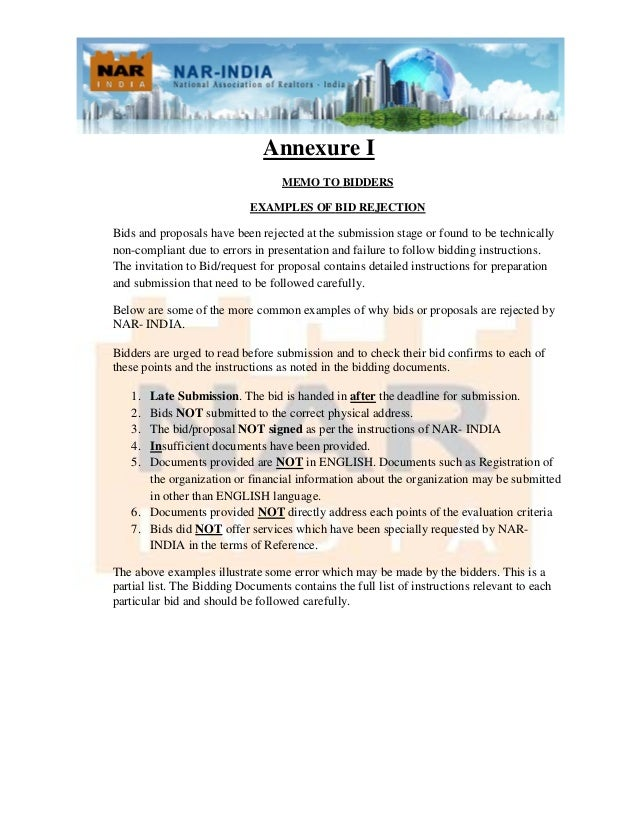Invitation to bid for fifth convention of nar india 3 annexure i memo to bidders examples of bid stopboris Images