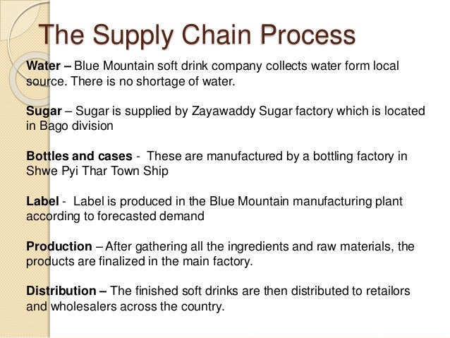 soft drink supply chain operations management Operation management at elephant house  what is operations management production is the creation of goods and services operations.