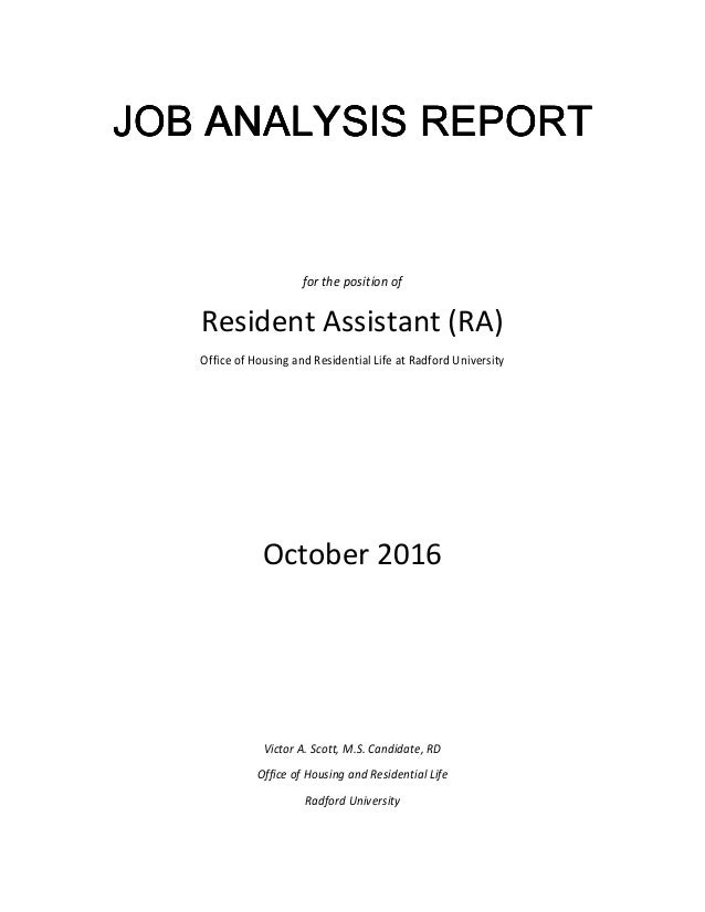 Job Analysis Report Resident Assistant
