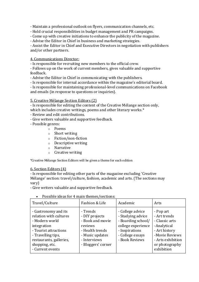 Creative Melange Job Description