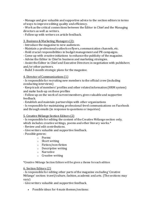 Creative Mélange Job Description (Fall 2014)
