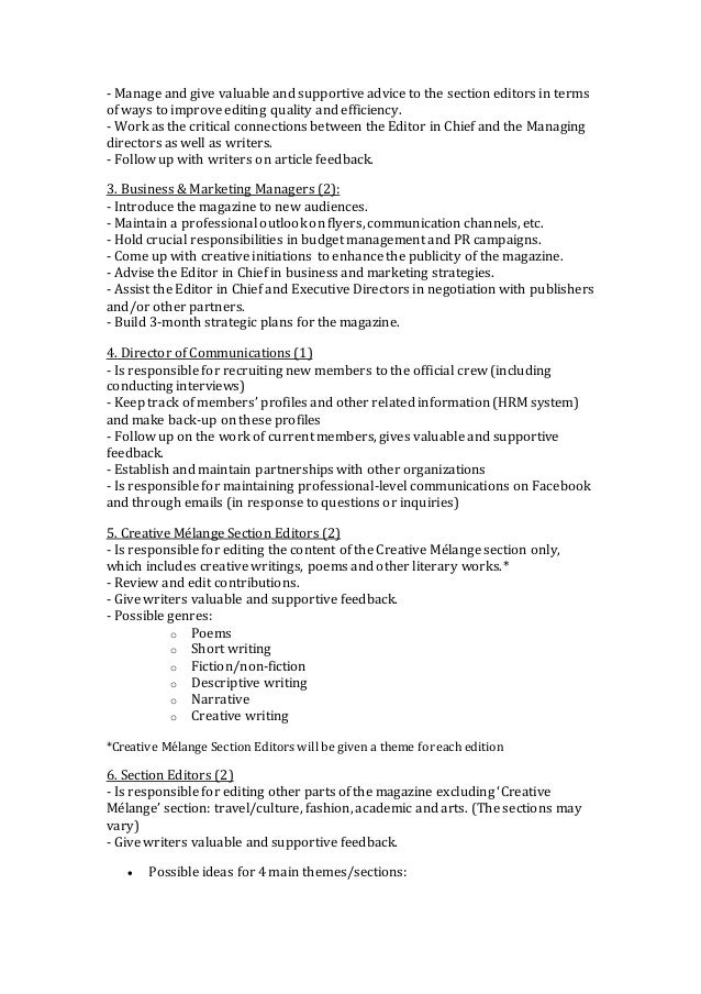 Creative Mlange Job Description Fall