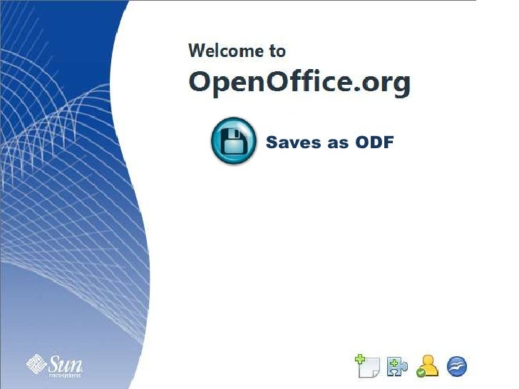Saves as ODF<br />