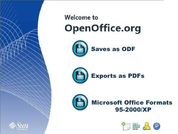 Saves as ODF<br />Exports as PDFs<br />Microsoft Office Formats<br />95-2000/XP<br />