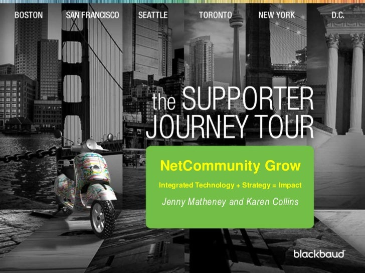 t<br />NetCommunity Grow <br />Integrated Technology + Strategy = Impact <br />Jenny Matheney and Karen Collins<br />