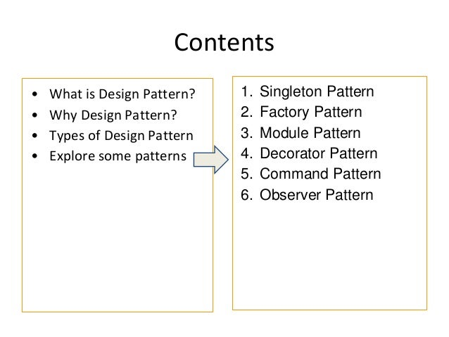 Contents • What is Design Pattern? • Why Design Pattern? • Types of Design Pattern • Explore some patterns 1. Singleton Pa...