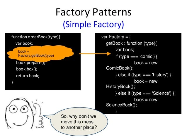 Factory Patterns (Simple Factory) function orderBook(type){ var book; book.prepare(); book.box(); return book; } var Facto...