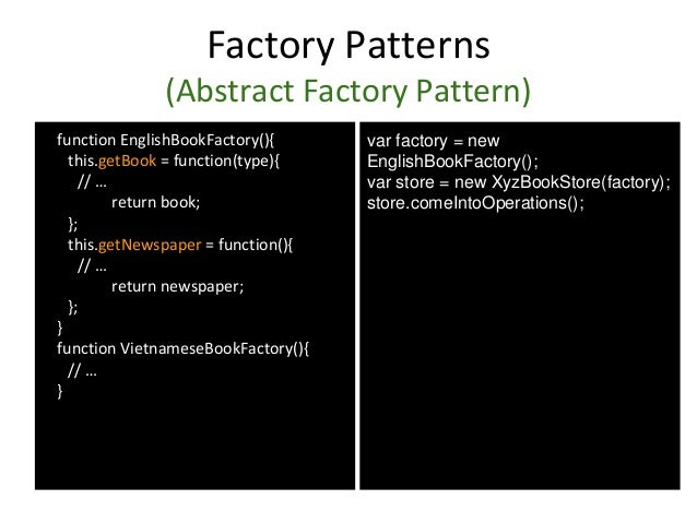 Factory Patterns (Abstract Factory Pattern) function EnglishBookFactory(){ this.getBook = function(type){ // … return book...