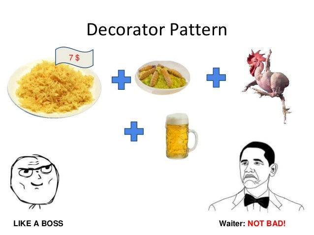 Decorator Pattern 7 $ Waiter: NOT BAD!LIKE A BOSS