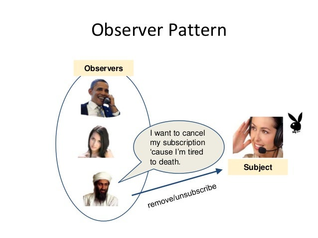 Observer Pattern Observers I want to cancel my subscription 'cause I'm tired to death. Subject