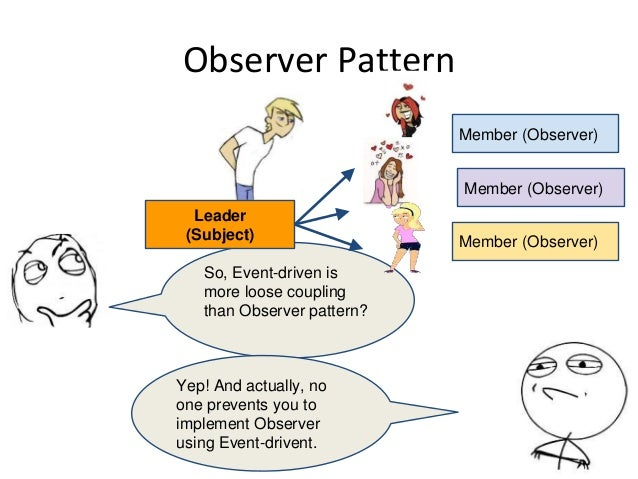 Observer Pattern So, Event-driven is more loose coupling than Observer pattern? Yep! And actually, no one prevents you to ...