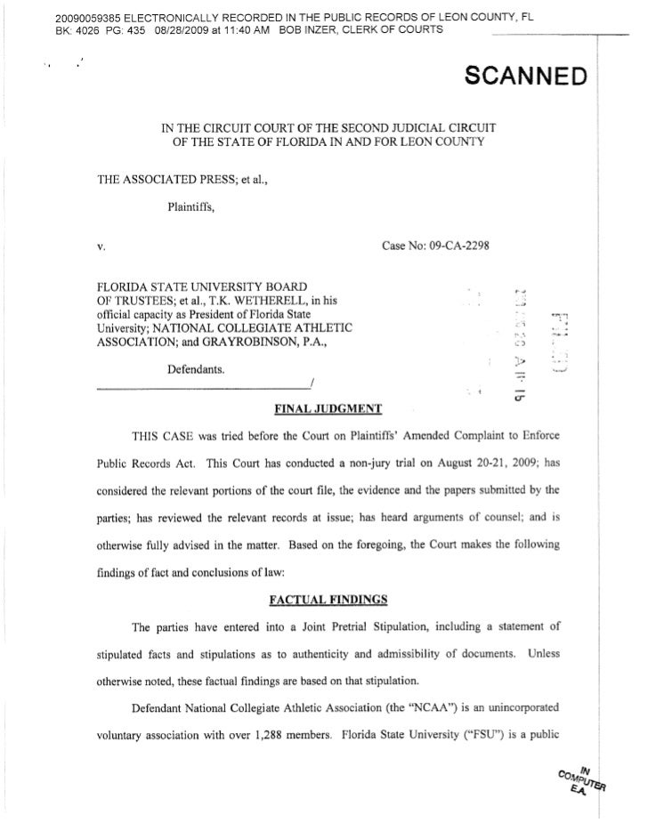 AP v. NCAA Final Judgment