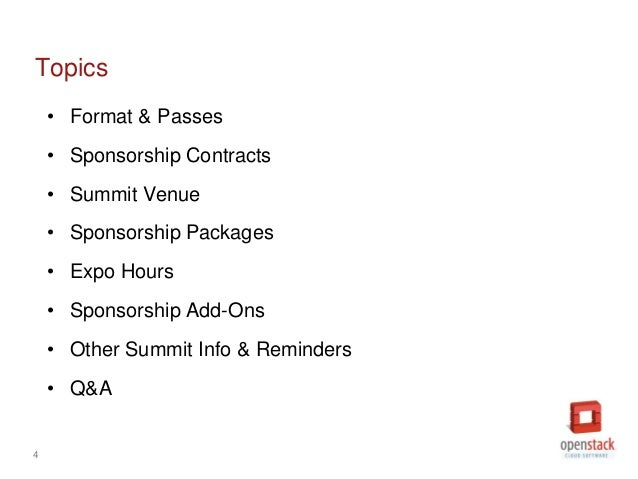 OpenStack Paris Summit Sponsorship Overview – Sponsorship Contracts
