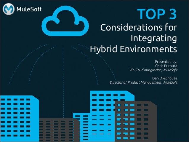 TOP 3 Considerations for Integrating Hybrid Environments Presented by: Chris Purpura VP Cloud Integration, MuleSoft ! Dan ...