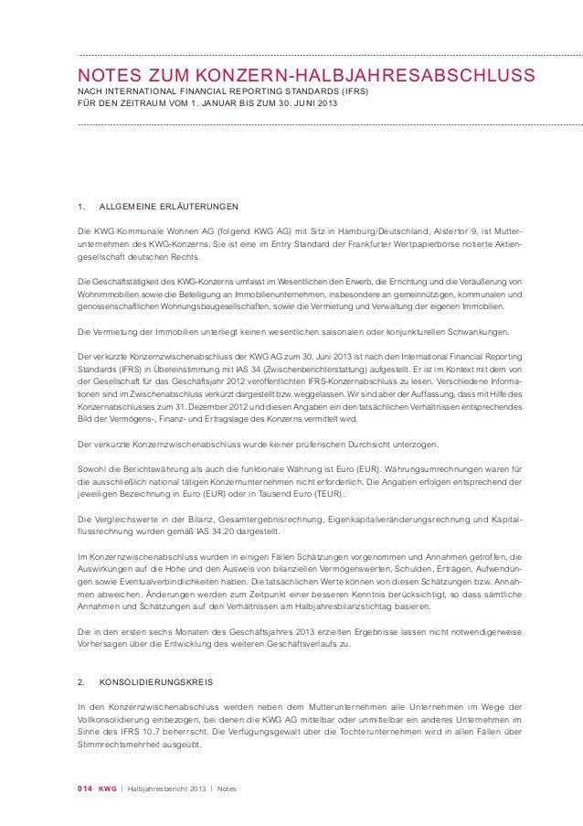014 KWG | Halbjahresbericht 2013 | Notes NOTES ZUM KONZERN-HALBJAHRESABSCHLUSS NACH INTERNATIONAL FINANCIAL REPORTING STAN...