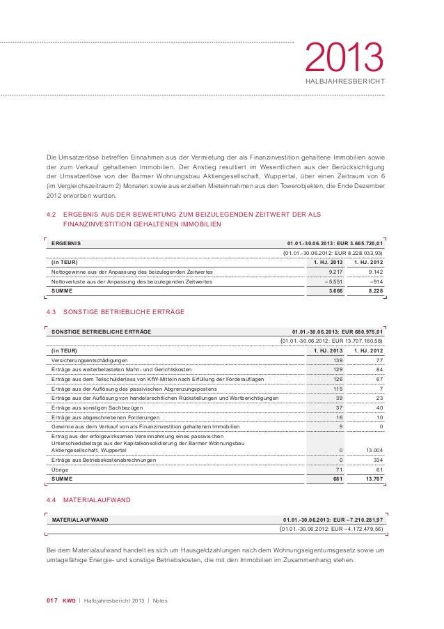 017 KWG | Halbjahresbericht 2013 | Notes 2013HALBJAHRESBERICHT Die Umsatzerlöse betreffen Einnahmen aus der Vermietung der...