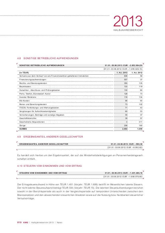 019 KWG | Halbjahresbericht 2013 | Notes 2013HALBJAHRESBERICHT 4.8 SONSTIGE BETRIEBLICHE AUFWENDUNGEN 4.9 ERGEBNISANTEIL A...