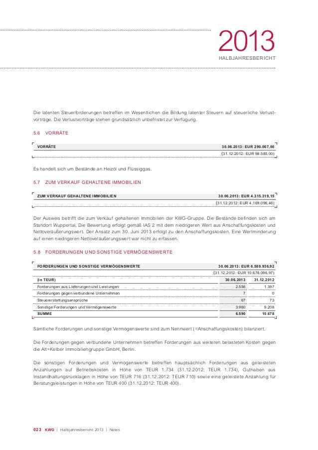 023 KWG | Halbjahresbericht 2013 | Notes 2013HALBJAHRESBERICHT Der Ausweis betrifft die zum Verkauf gehaltenen Immobilien ...