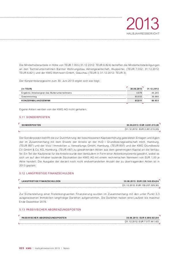 025 KWG | Halbjahresbericht 2013 | Notes 2013HALBJAHRESBERICHT 5.12 LANGFRISTIGE FINANZSCHULDEN Zur Sicherstellung einer f...