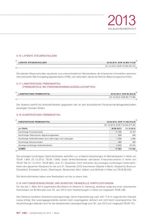 027 KWG | Halbjahresbericht 2013 | Notes 2013HALBJAHRESBERICHT LATENTE STEUERSCHULDEN 30.06.2013: EUR 16.298.714,09 (31.12...