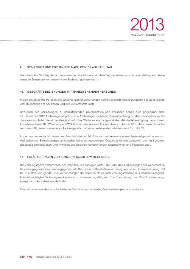 029 KWG | Halbjahresbericht 2013 | Notes 2013HALBJAHRESBERICHT 9. SONSTIGES UND EREIGNISSE NACH DEM BILANZSTICHTAG Zwische...