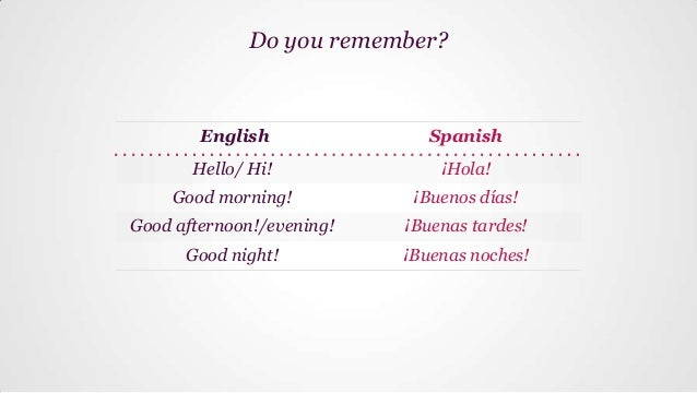 What did you say yesterday in spanish good morning