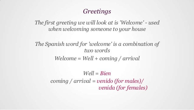 Greeting words for presentation