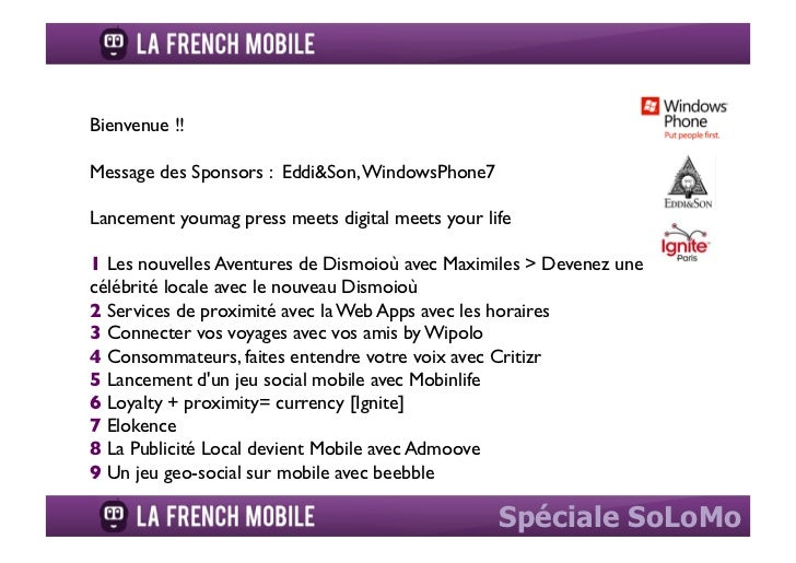 Bienvenue !!	Message des Sponsors :  Eddi&Son, WindowsPhone7	Lancement youmag press meets digital meets your life	1 Les no...