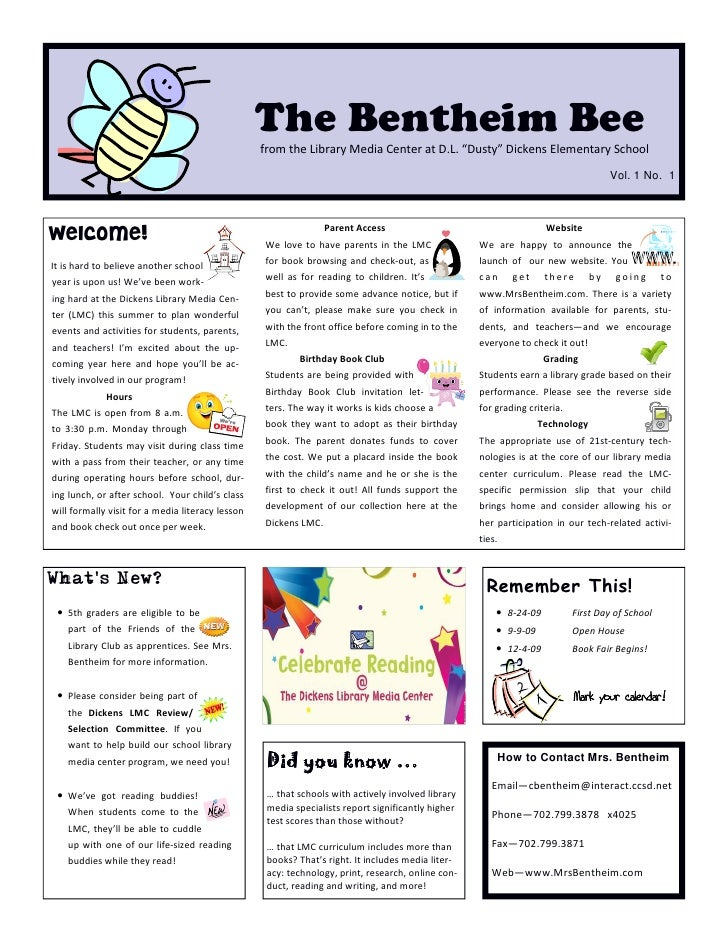 "The Bentheim Bee                                                   from the Library Media Center at D.L. ""Dusty"" Dickens E..."