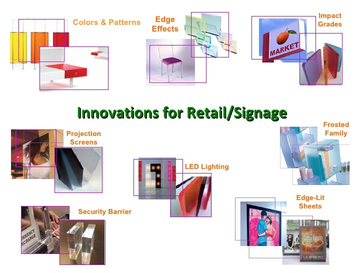 Innovations for Retail/Signage Edge-Lit Sheets Colors & Patterns Edge Effects Frosted Family Impact Grades LED Lighting Pr...