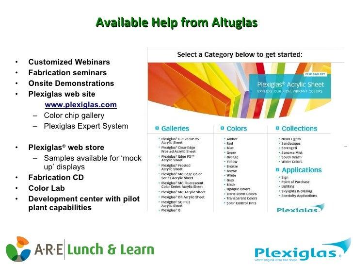 Available Help from Altuglas <ul><li>Customized Webinars </li></ul><ul><li>Fabrication seminars </li></ul><ul><li>Onsite D...