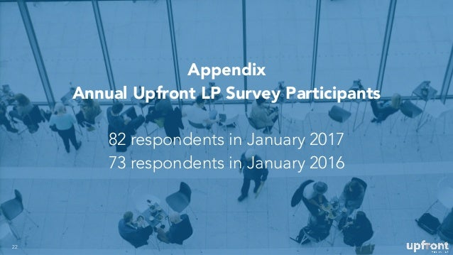 Appendix Annual Upfront LP Survey Participants 82 respondents in January 2017 73 respondents in January 2016 22