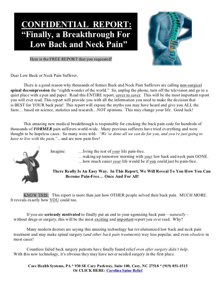 "Cc         CONFIDENTIAL REPORT:         ""Finally, a Breakthrough For           Low Back and Neck Pain""              Here i..."