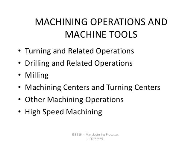 MACHINING OPERATIONS AND MACHINE TOOLS • • • • • •  Turning and Related Operations Drilling and Related Operations Milling...
