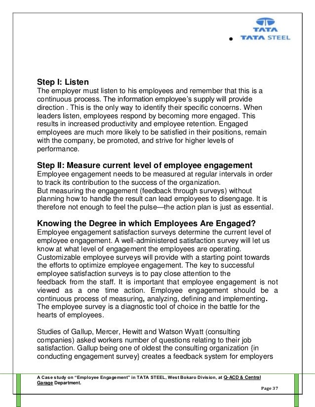 Project Report on Employee Engagement