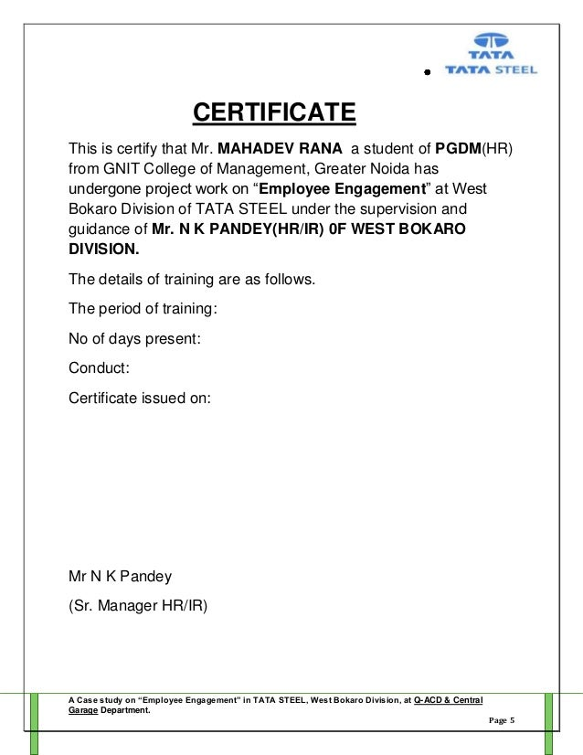 Certificate of employment example gidiyedformapolitica project report employee engagement by mahadev rana yadclub Gallery