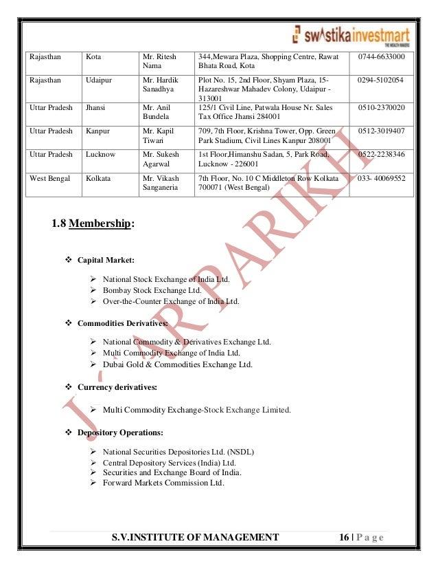 S.V.INSTITUTE OF MANAGEMENT 16   P a g e Rajasthan Kota Mr. Ritesh Nama 344,Mewara Plaza, Shopping Centre, Rawat Bhata Roa...