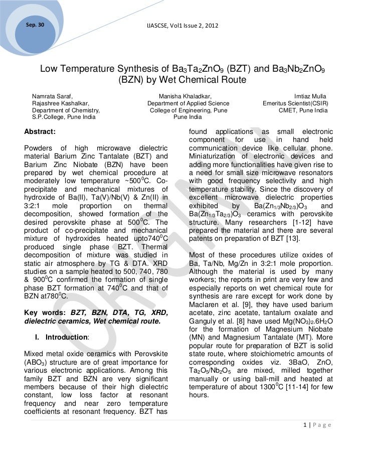 Sep. 30                              IJASCSE, Vol1 Issue 2, 2012     Low Temperature Synthesis of Ba3Ta2ZnO9 (BZT) and Ba3...