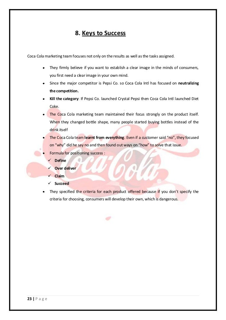 Marketing Plan For Coca Cola Company By Tuf Students