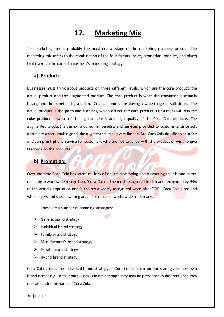 the coca cola company marketing planning and The coca cola company market plan marketing plan for a coca cola company analysis of company situation: introduction of coca cola company: the coca cola company is a beverage company that is publicly listed on the new york stock exchange it is one of the most popular brands.