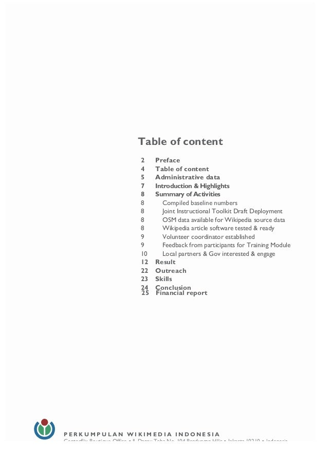 4 Table of content 2 Preface 4 Table of content 5 Administrative data 7 Introduction & Highlights 8 Summary of Activitie...